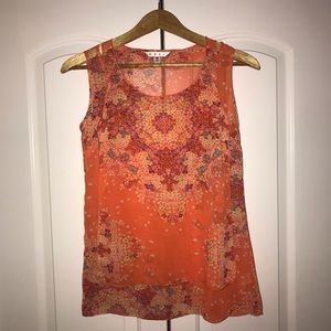 cabi Beautiful Orange Pattern Short Sleeve Blouse